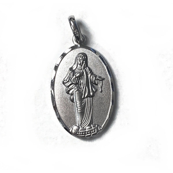 Small Our Lady Of Medjugorje Oval Sterling Silver Medal with Trim