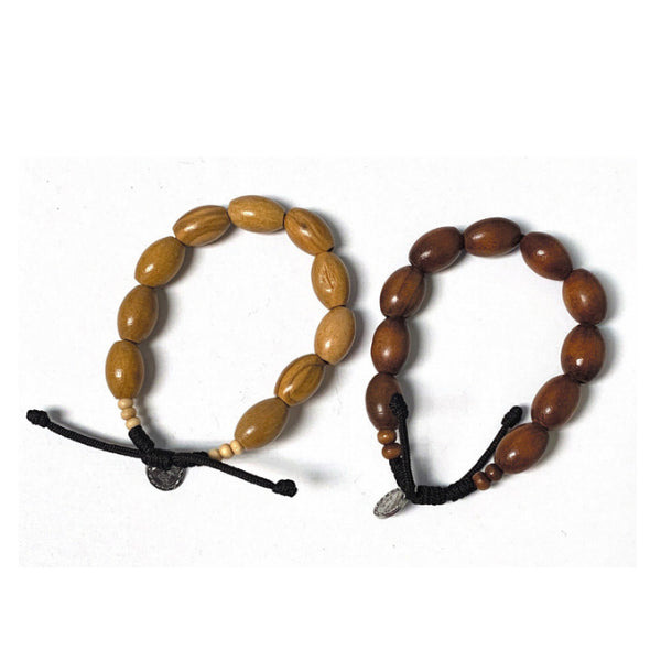 Oval Wood Bead Rosary Bracelet From Medjugorje
