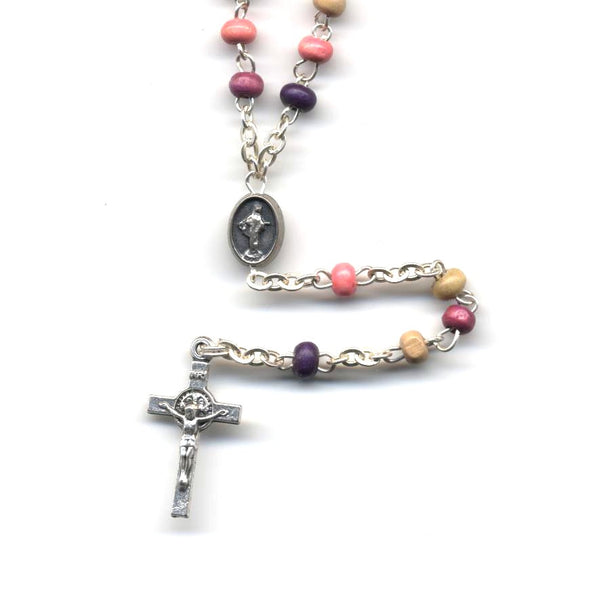 Pink Wooden Bead Rosary