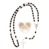 Medjugorje Oval Brown Wood Bead Rosary