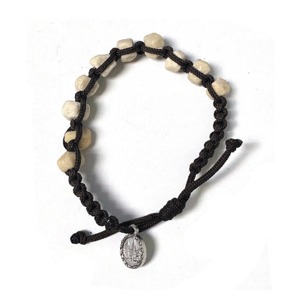 Rock Bead and Rope Rosary Bracelet with Medal