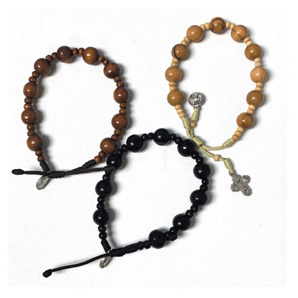 Round Wood Bead Rosary Bracelet From Medjugorje