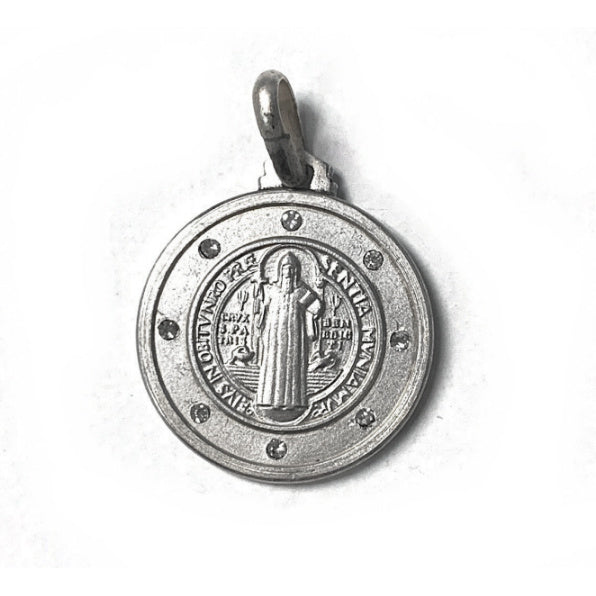 Large Sterling Silver St. Benedict Medal w/Crystals