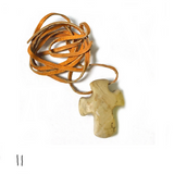 Handcarved Rock Cross with Leather Cord (Assorted Colors)