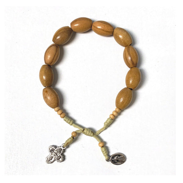 Oval Light Tan Wood Bead Rosary Bracelet From Medjugorje