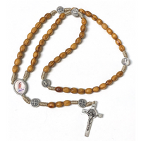 Corded Olivewood St. Benedict Rosary