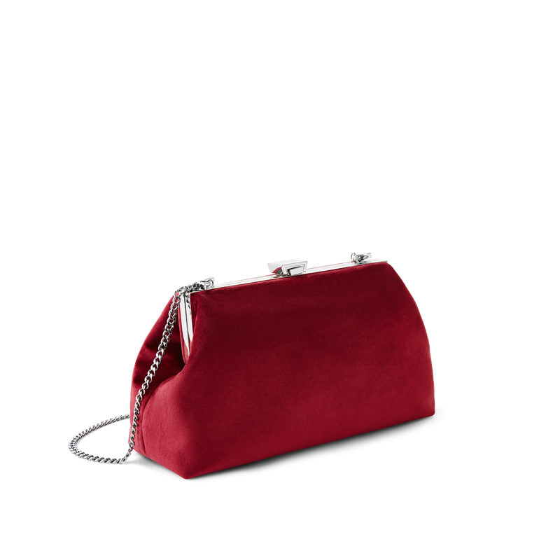 Burgundy Velvet Jewel Bag with Silver Chain Strap