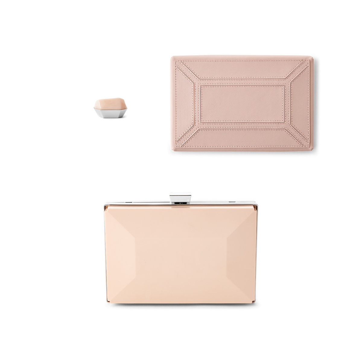 Rose Bare Bag Kit with Rose Leather Covers and Rose Facets Clasp