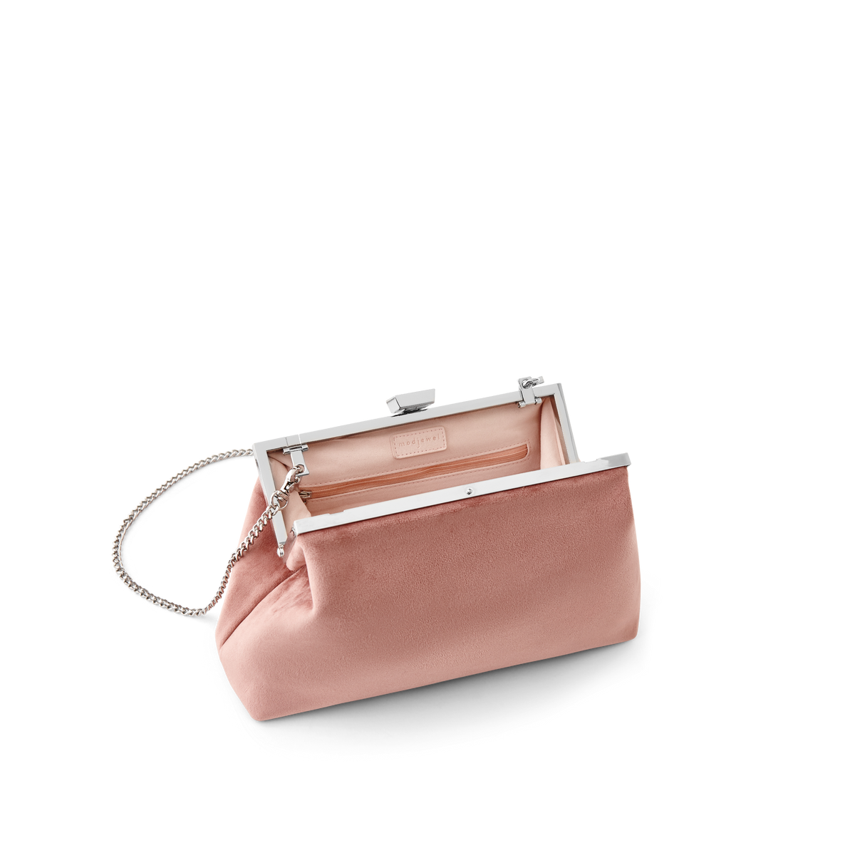 Dusty Rose Velvet Jewel Bag with Silver Chain Strap