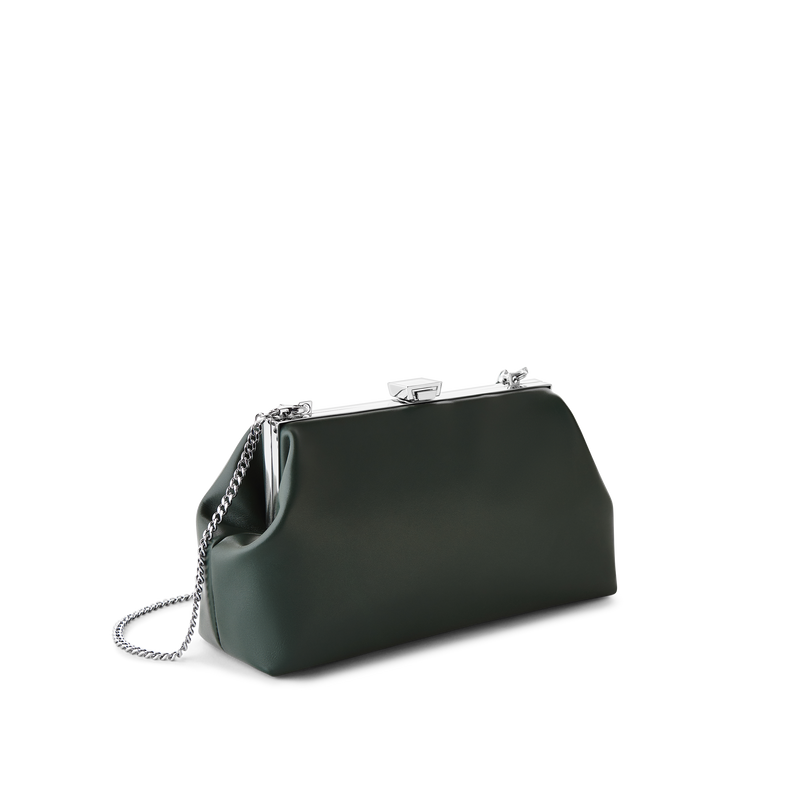 Forest Leather Jewel Bag with Silver Chain Strap