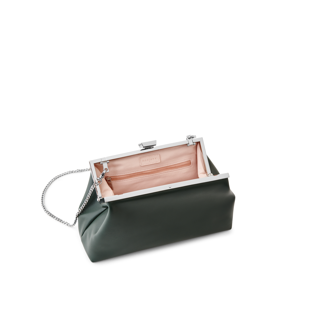 Forest Leather Evening Bag with Silver Chain Strap