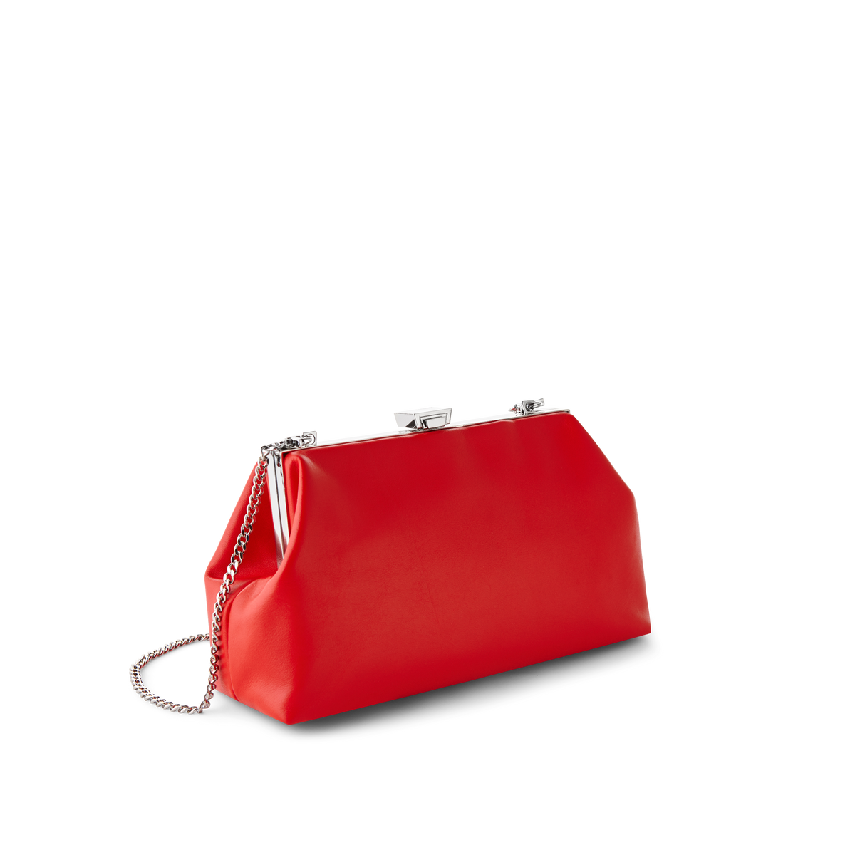 Cherry Leather Jewel Bag with Silver Chain Strap