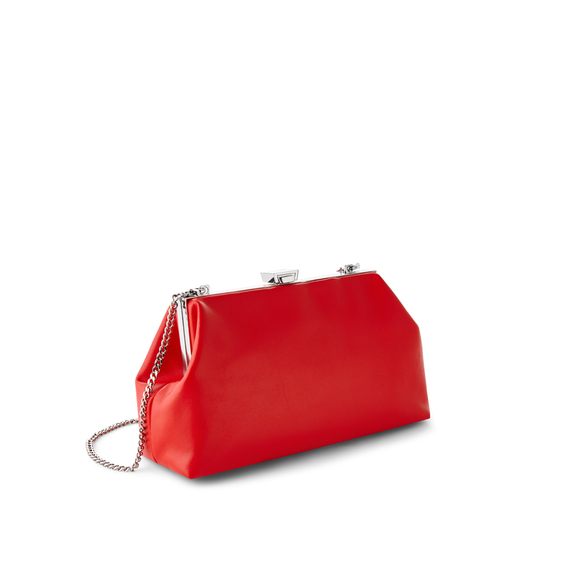 Cherry Leather Evening Bag with Silver Chain Strap