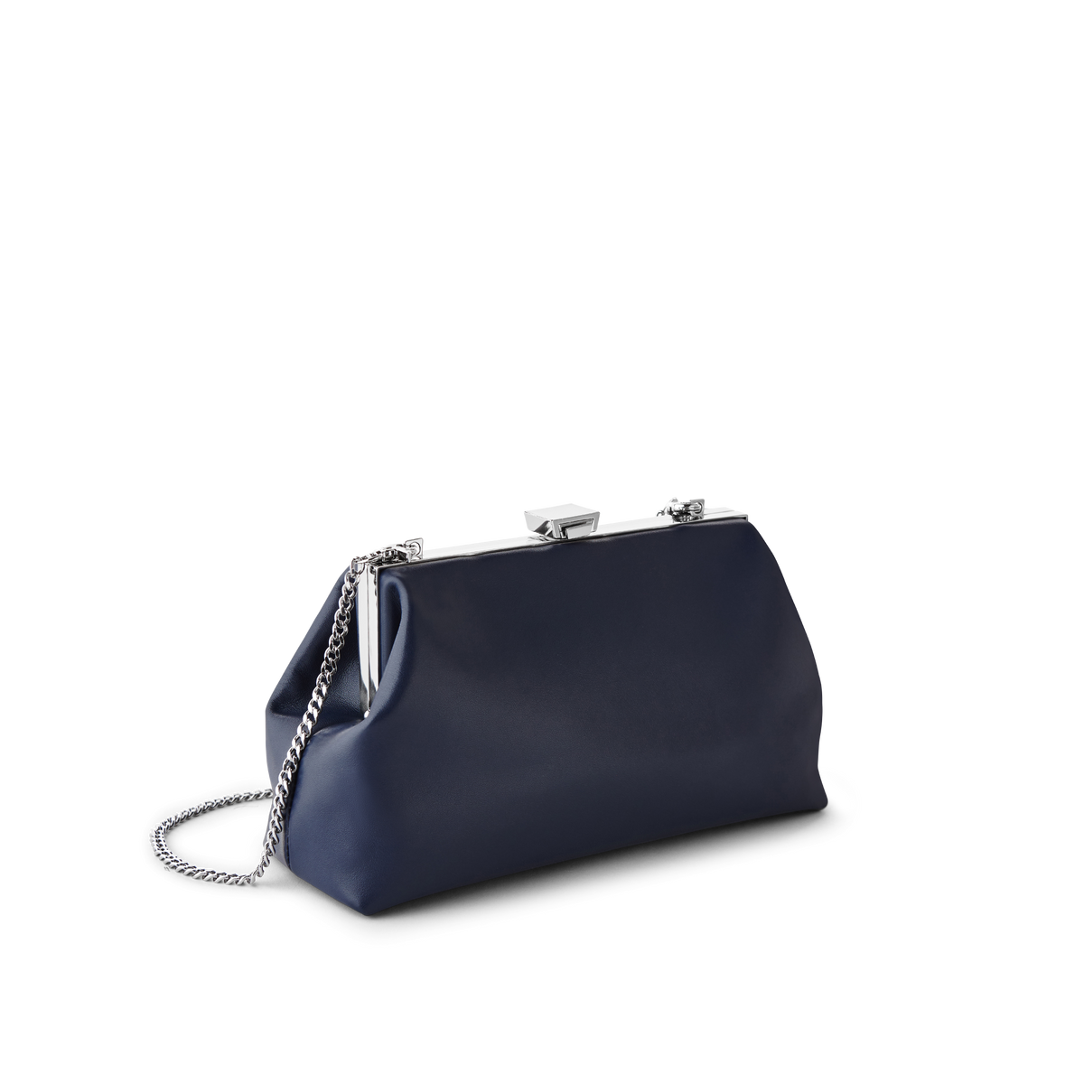Midnight Leather Jewel Bag with Silver Chain Strap