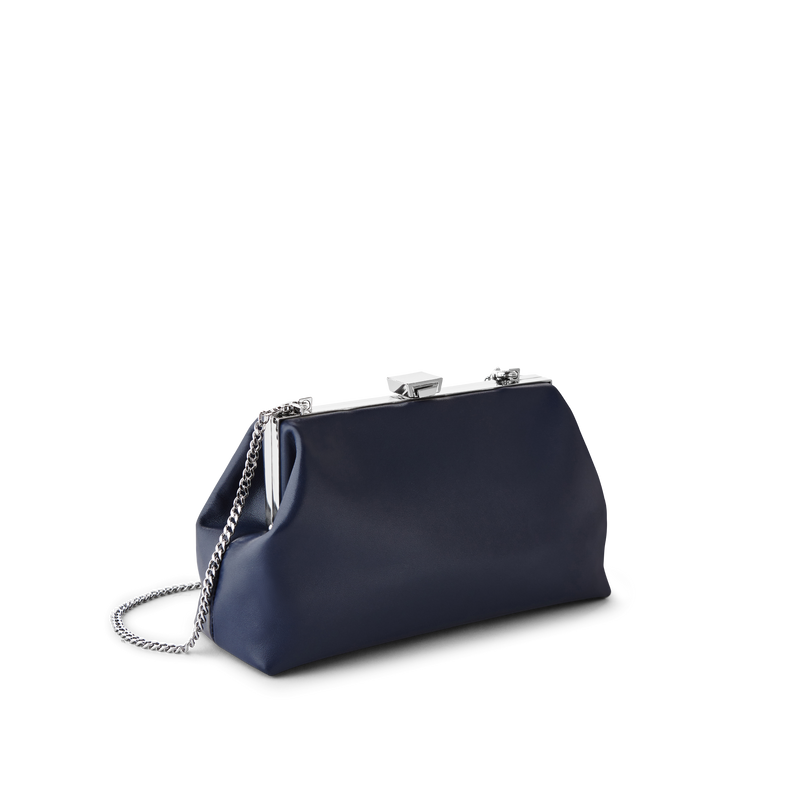 Midnight Leather Evening Bag with Silver Chain Strap