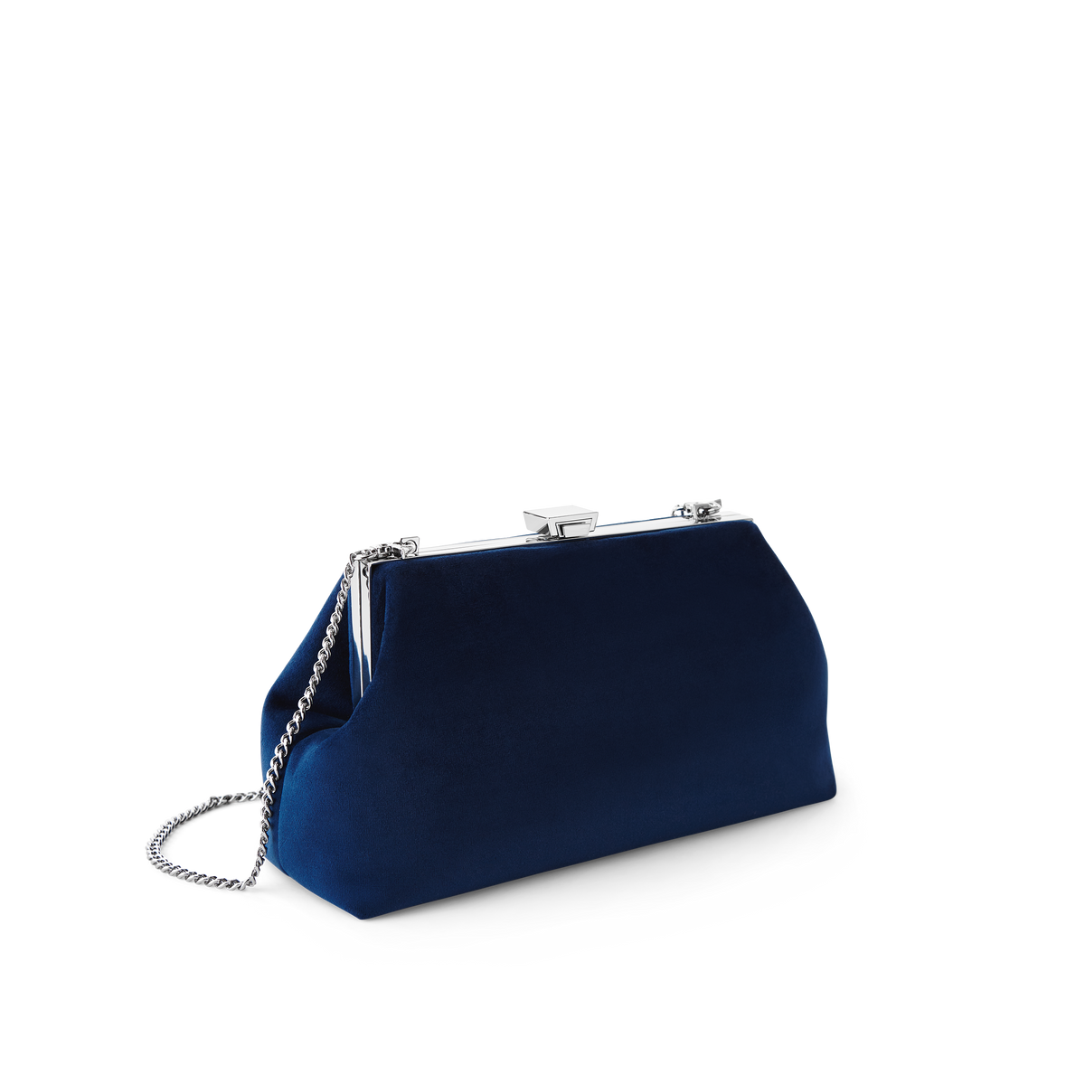 Midnight Velvet Jewel Bag with Silver Chain Strap