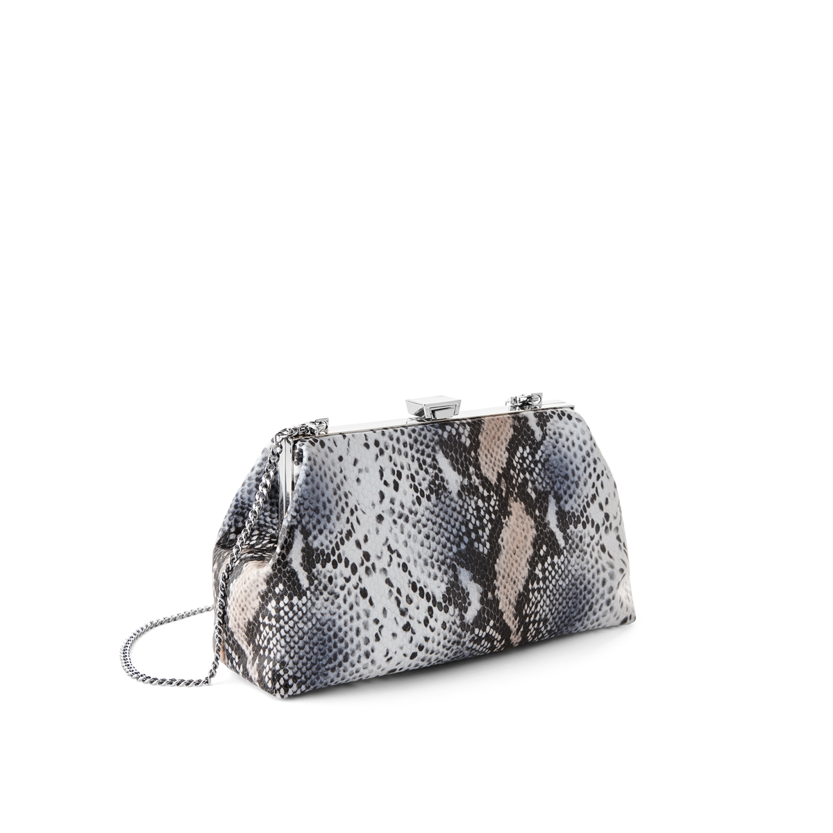Python Evening Handbag with Silver Chain Strap