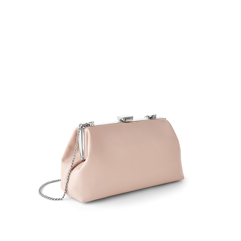 Light Pink Leather Evening Bag with Silver Chain Strap