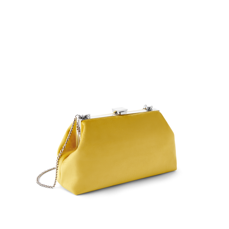 Sunny Velvet Party Bag with Silver Chain Strap
