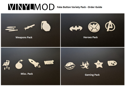 Small Size Universal Blank Button Decals - VinylMod Variety Packs