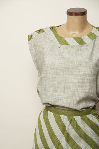 Camiseta Vintage de lino a rayas verdes-40-Carousel-ropa-vintage-mujer-online