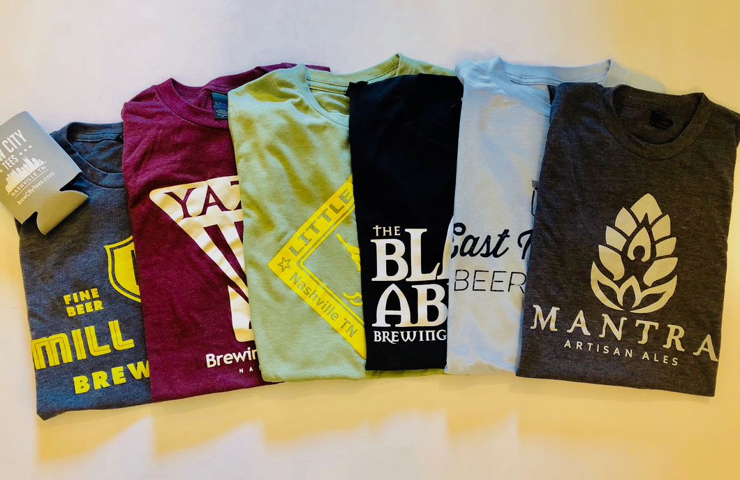 6 Month Surprise T Shirt Subscription + free beer vouchers (Example shirts pictured)