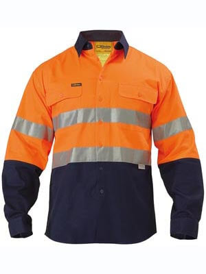 Bisley 2 Tone Hi Vis Shirt 3M Reflective Tape - Long Sleeve-(BT6456)