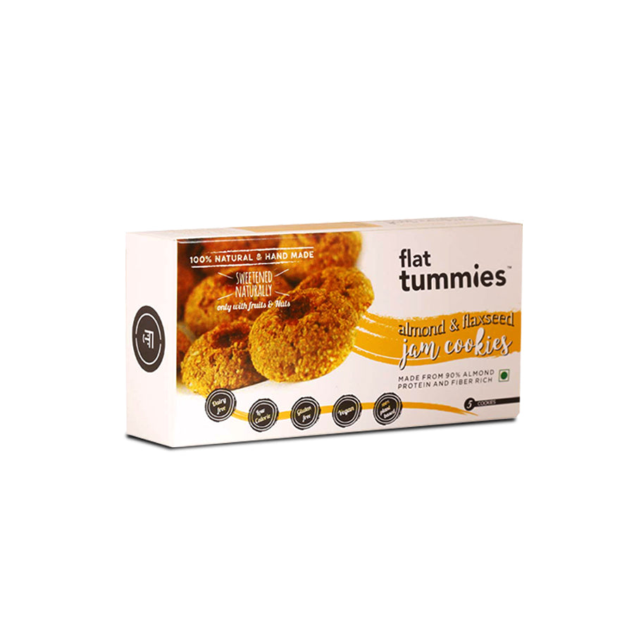 Flat Tummies Almond Flaxseed Jam Cookies 100% natural with no preservative, Sugar free, Gluten free, Dairy Free and with low calorie, this almond delight is suitable for all age groups.