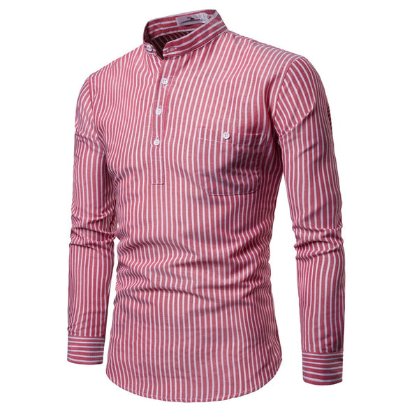 Leone Long Sleeved Striped Shirt With Mandarin Collar