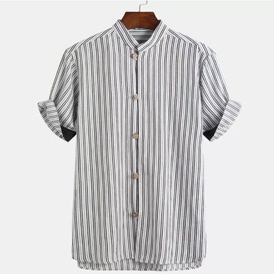 Striped Short Sleeve Shirt in White