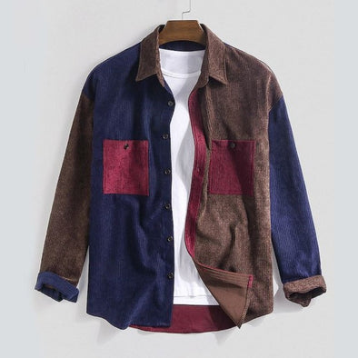 Corduroy Patchwork Button-Down Shirt