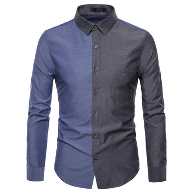 Split Color Button-Down Shirt