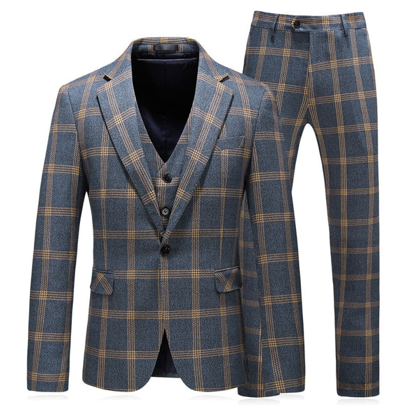 3 piece Formal Plaid Suit