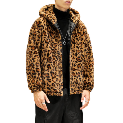 Hooded Leopard Plush Jacket