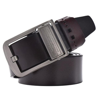 Wide Buckle Leather Belt