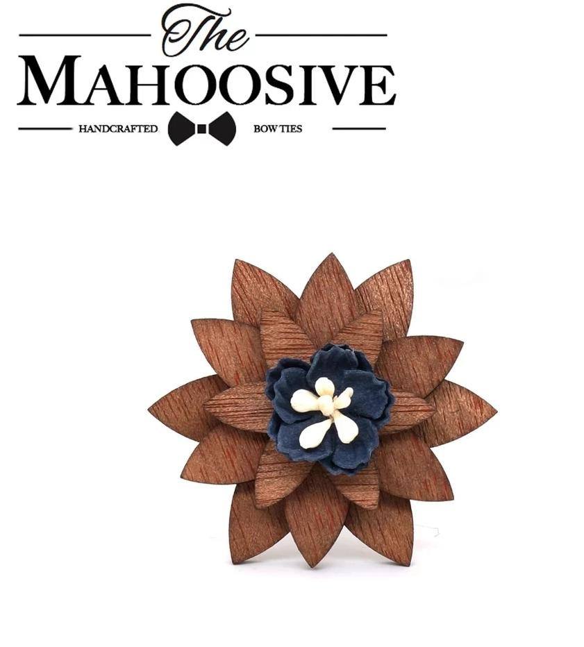 Mahoosive Wooden Flower Lapel Pin