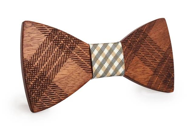 Mahoosive Wood Bow Tie Checked Design