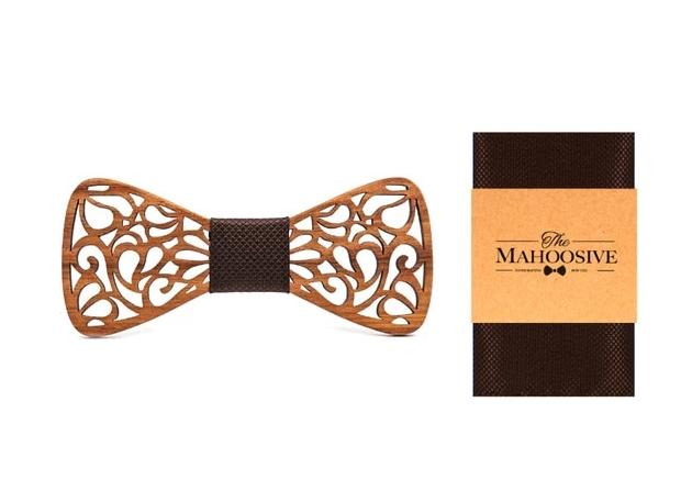 Mahoosive Punched Design Wooden Bow Tie