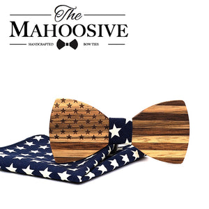 Mahoosive Wooden Bow Ties USA Flag Handmade