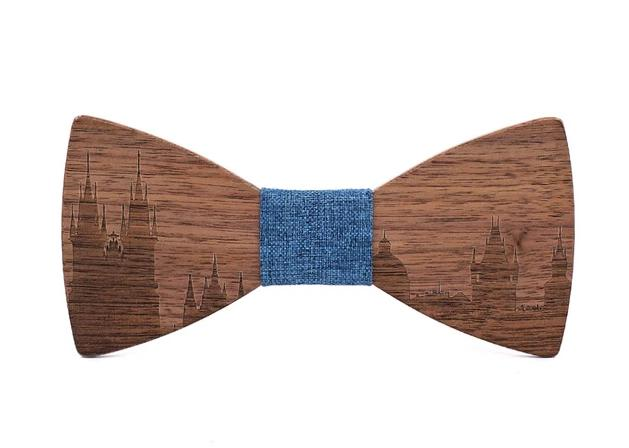 Mahoosive Wooden Bow Tie City Skyline