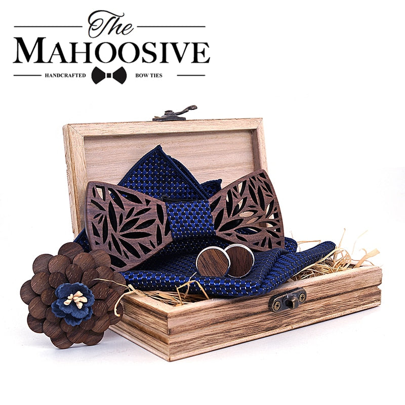 Mahoosive Wooden Bow Tie Lapel Set
