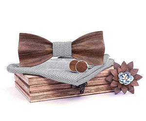 Mahoosive Carved Wooden Bow Tie Set