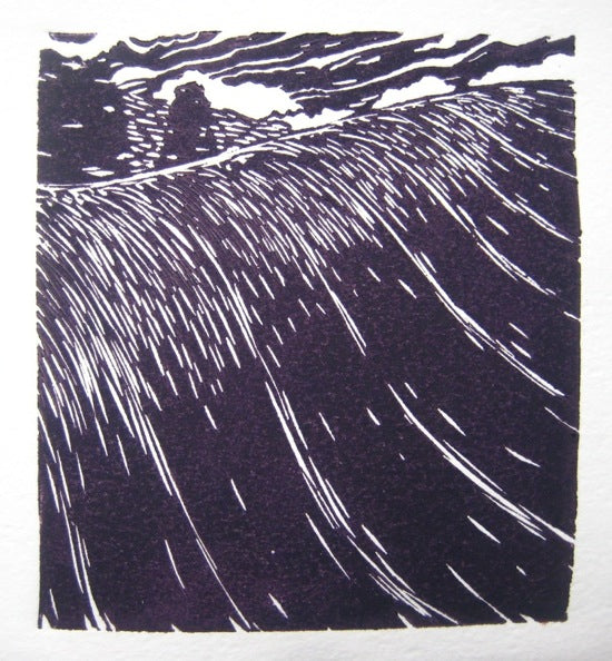 """Over the shoulder"" - linocut print"