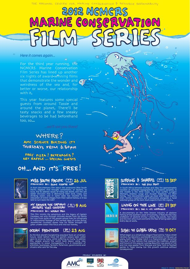 2012 NCMCRS Marine Conservation Film Series poster by Ian Jermyn