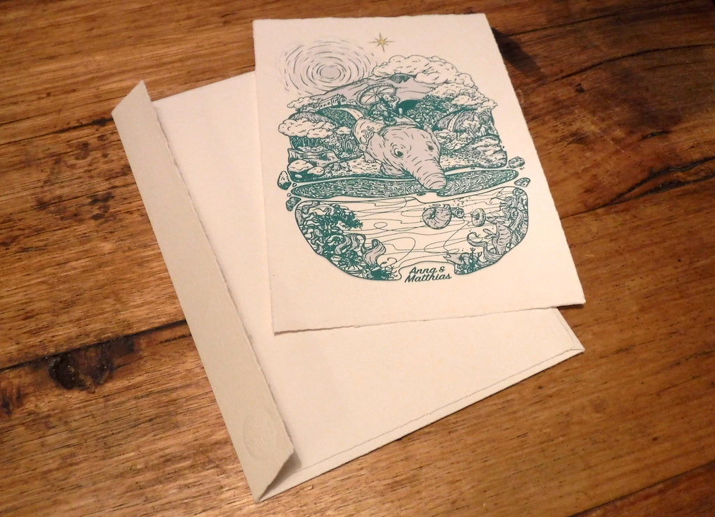Custom wedding invitations - 3-colour screenprint on handmade paper with handmade envelopes