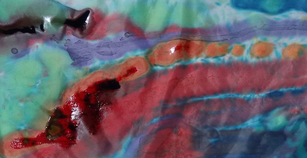 Working wet on wet with the concentrated pigments leads to novel interactions between colours