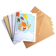 Load image into Gallery viewer, Organic Devolution Animal Life five note card box set card spread with envelopes