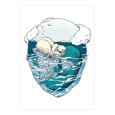 Organic Devolution Bear and Whale note card front