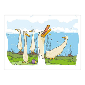 Organic Devolution Indian Runner Ducks note card front