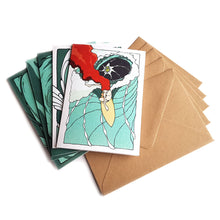Load image into Gallery viewer, Organic Devolution Waveriders five note card box set card spread with envelopes